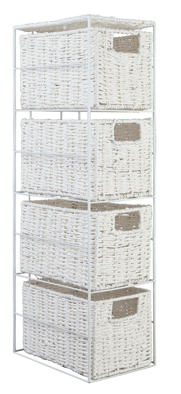 4 Drawer Rattan Basket Wicker Bathroom Storage Tower Unit Bedroom