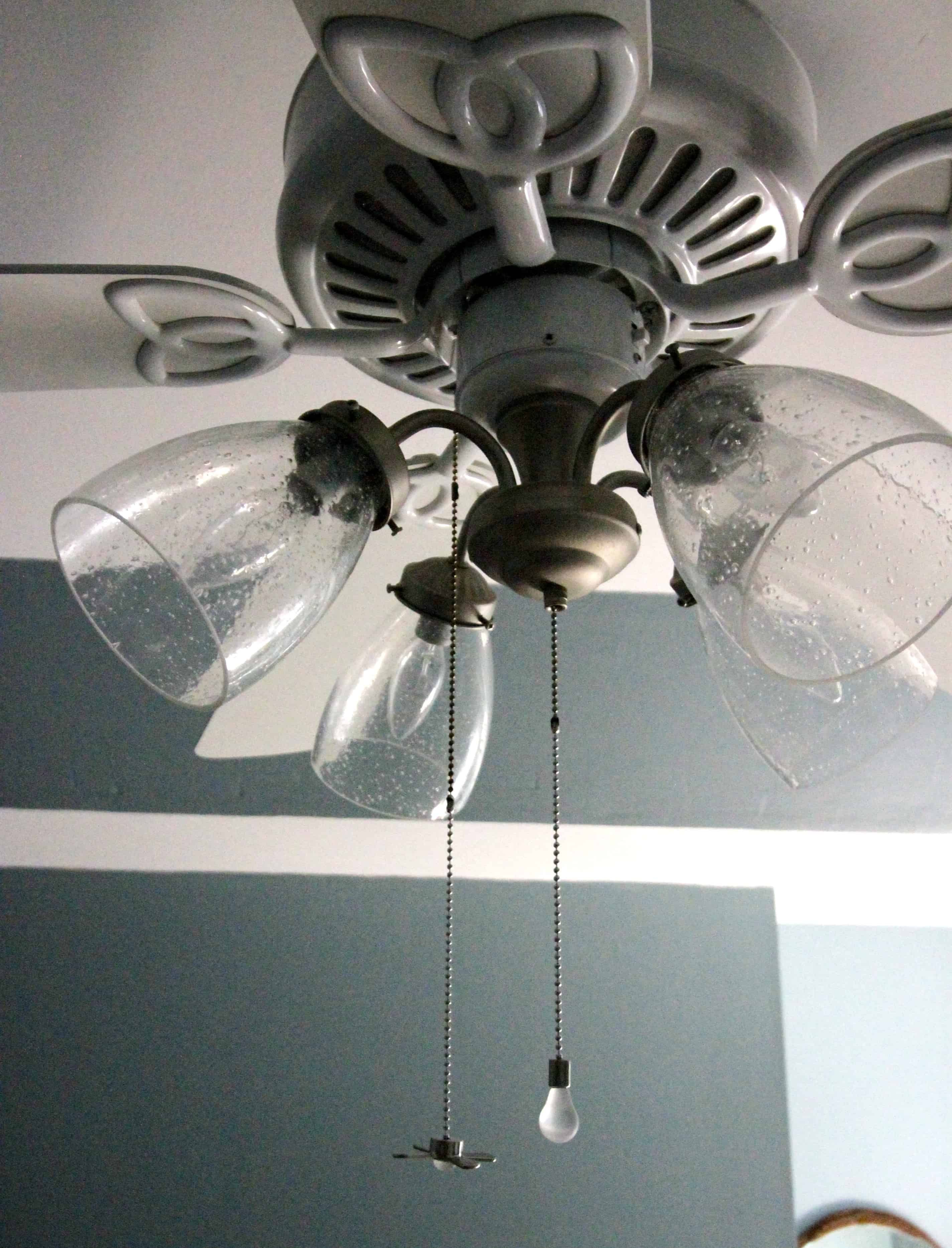 How To Update Modernize Your Ceiling Fan Ceiling Fan Makeover Ceiling Fan Shades Ceiling Fan Glass Shades