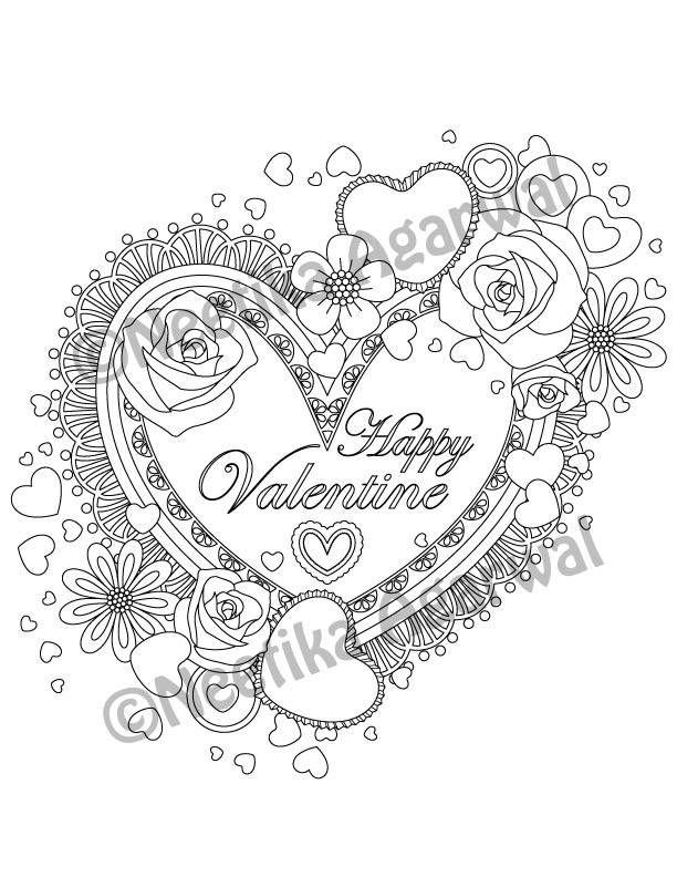 Valentine Heart- Valentine - Adult Coloring Page - Valentine\u0027s Day