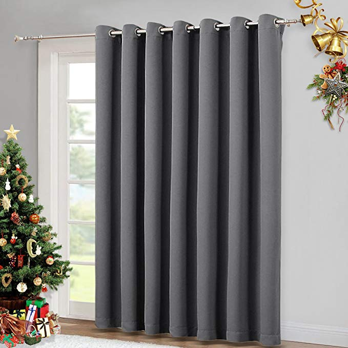 Amazon Com Nicetown Patio Sliding Door Curtain Wide Blackout Curtains Keep War Sliding Door Curtains Sliding Glass Door Curtains Modern Sliding Glass Doors