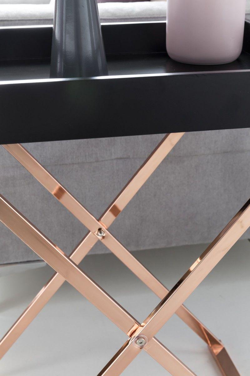 Wohnling Beistelltisch Tv Tray Wl5 244 Schwarz Aus Mdf Mit Kupfer Gestell Wohnzimmer Kupfer Tablett Modern Design Dek Mit Bildern Tisch Beistelltisch Beistelltische