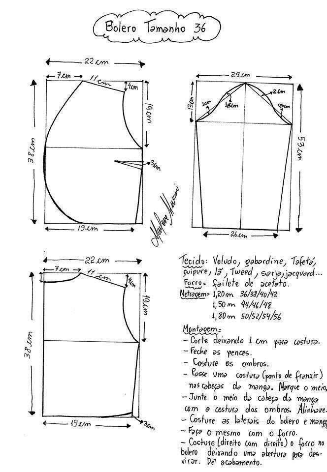 Bolero | patrones blusas | Costura, Patrones y Boleros