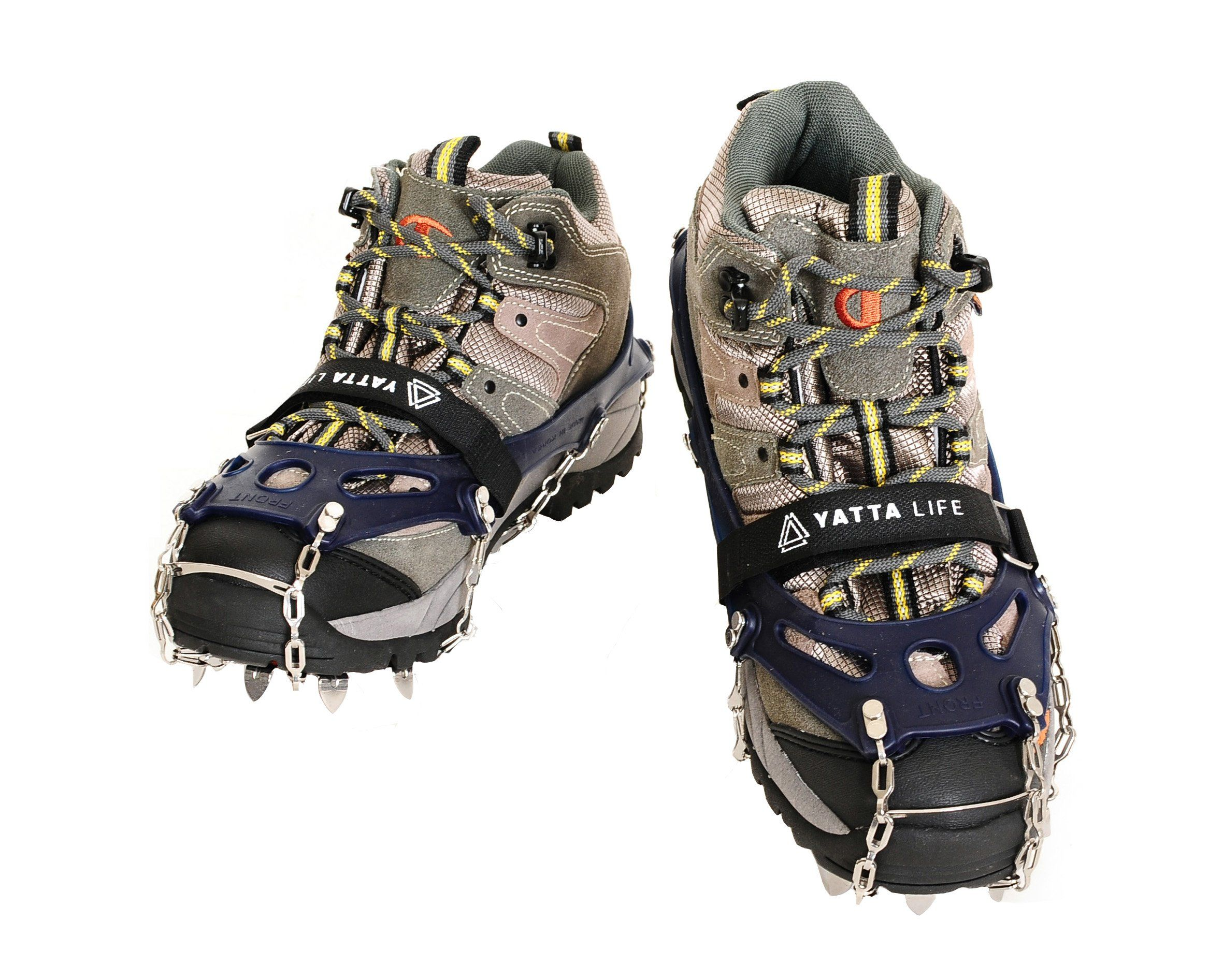 Yatta Life Heavy Duty Trail Spikes 14 Spikes Ice Grip Snow Cleats Footwear Crampons For Walking Jogging Or Hiking On Snow An Walking Boots Hiking Boots Boots