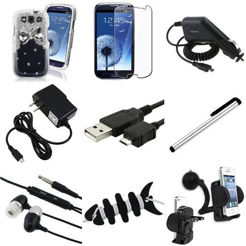 INSTEN 9in1 Silver Diamond Hard Case Cable Charger Mount For Samsung Galaxy S3 i9300 Review Buy Now