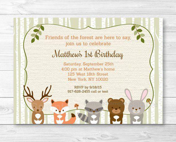 Cute Woodland Animal Birthday Invitation Invite 1st 2nd Bi
