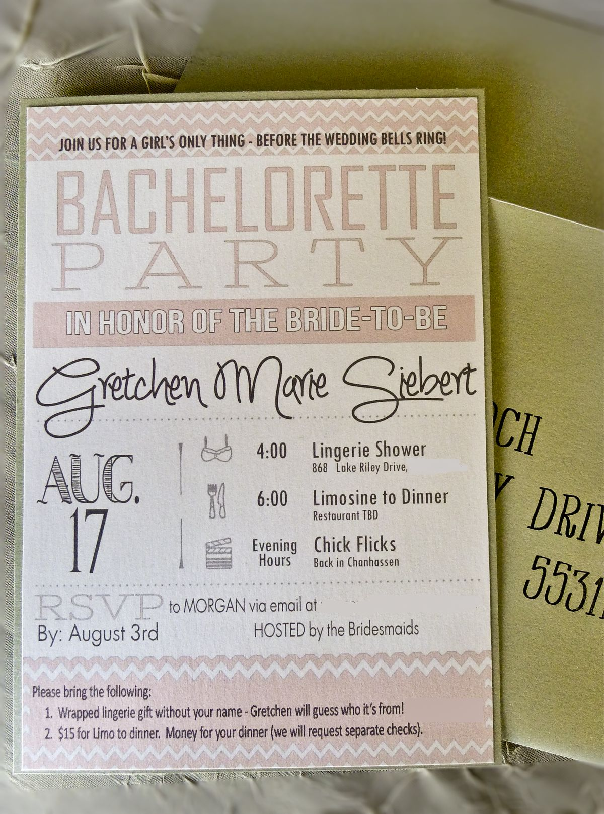 Bachelorette party homemade invite My mom designed these with the