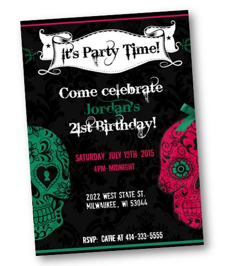 Birthday Party Invitations Sugar Skulls Day of the by PinkPopRoxx – Tattoo Party Invitations