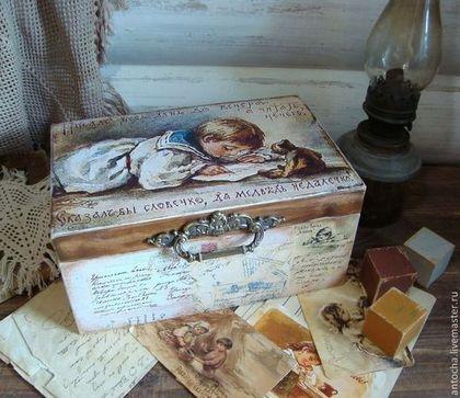 """Короб """"ПисАл весь день до вечера..."""" - ретро,Елизавета Бем,винтаж,открытка"""
