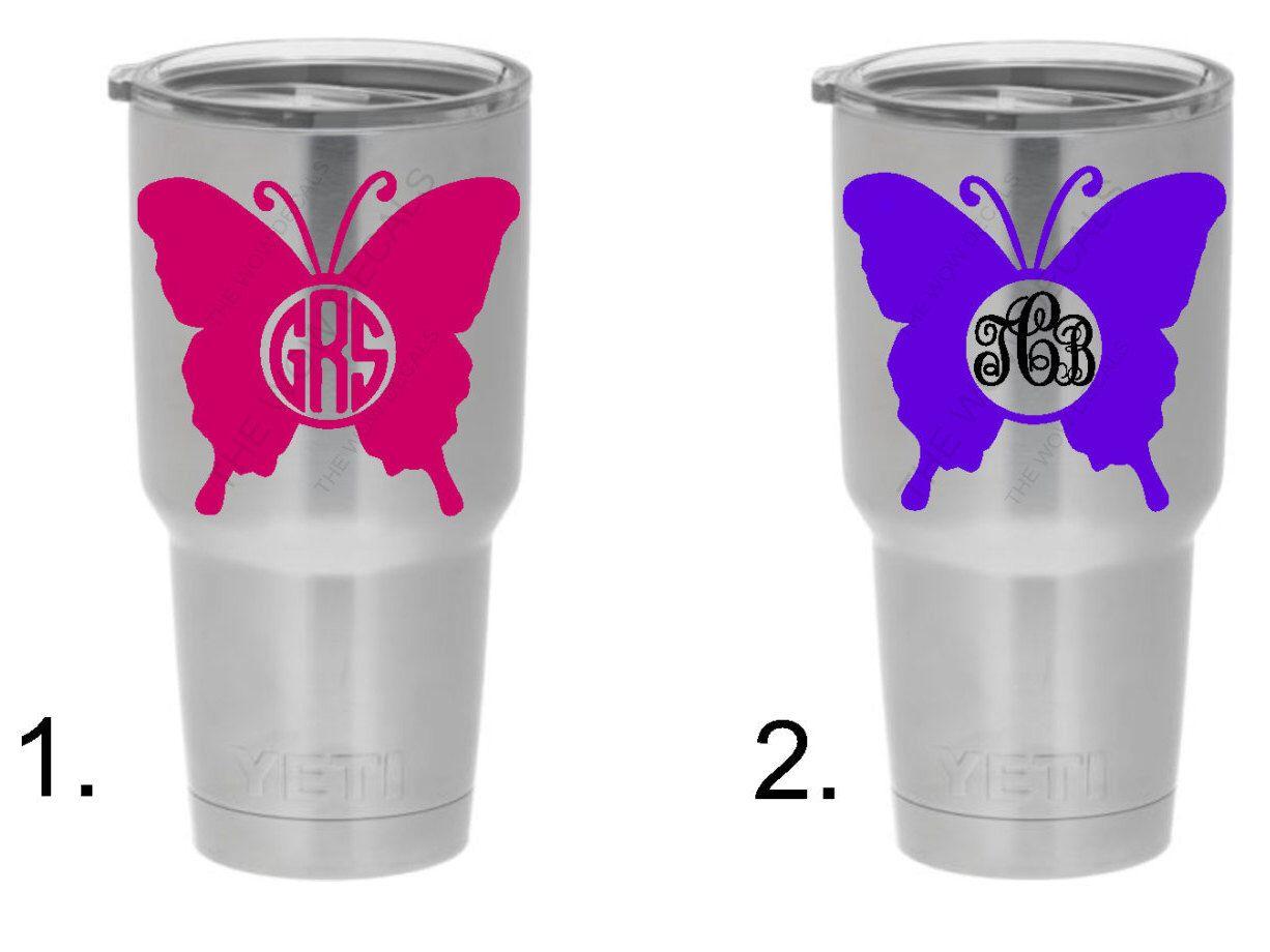 Color Custom Vinyl Monogram Butterfly Yeti Decal RTIC Decal - Custom vinyl decals for tumblers