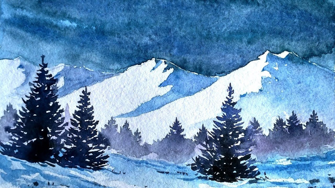 Snowy Blue Mountains With Watercolor Paint With David Winter Landscape Painting Watercolor Landscape Paintings Painting Snow