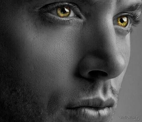 Dean winchester- Jensen Ackles- supernatural edit - black and white- coloured eyes