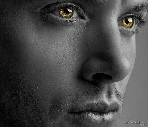 Dean winchester- Jensen Ackles- supernatural edit - black and white- coloured eyes