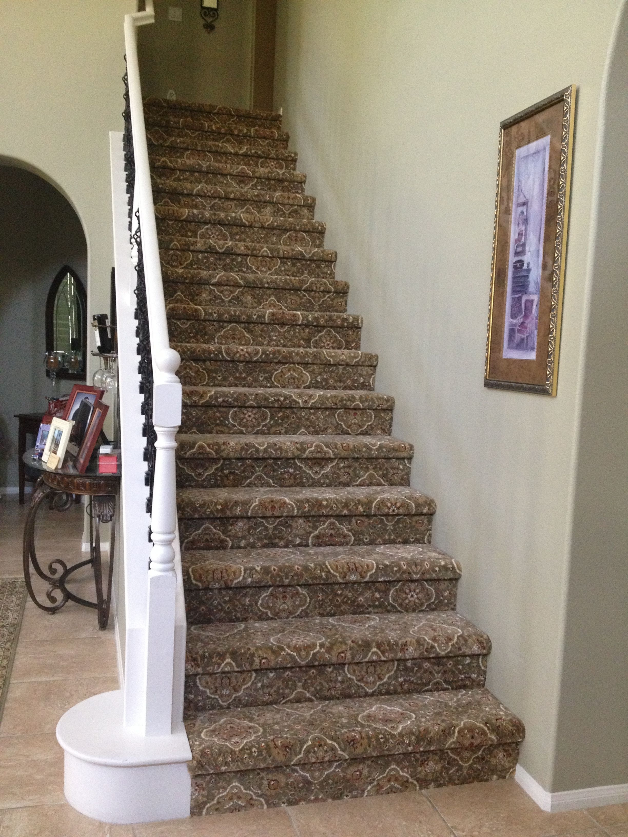 New Carpet On Stairs Aug 6 2013 Stairway Carpet Patterned   Cost To Have Stairs Carpeted   Stair Case   Hardwood   Stair Tread   Installation   Carpet Runner