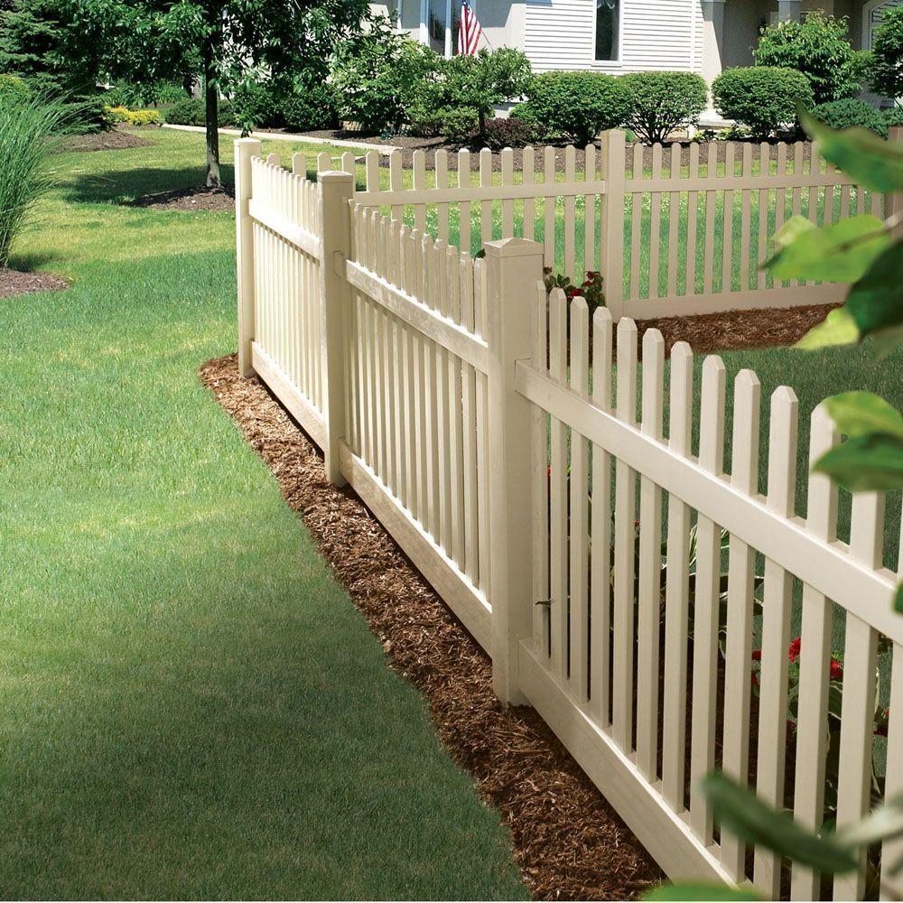 Veranda Kettle Straight 4 Ft H X 8 Ft W Sand Vinyl Un Assembled Fence Panel 73011900 Backyard Fences Fence Design Backyard