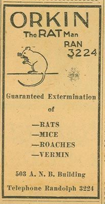 1912 Otto Orkin Now Known As Otto The Rat Man Opens His First Office In Richmond Va Orkin Rat Man Termite Control