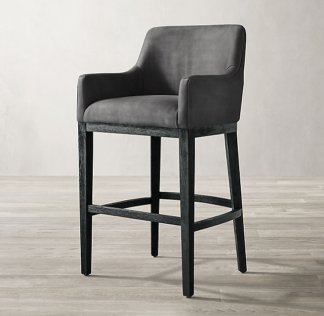 Morgan Curved Back Track Leather Stool Counter Stools Leather