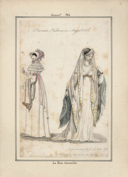 la belle assemblee | La Belle Assemblee, August 1806. The bonnet on the right is killer!