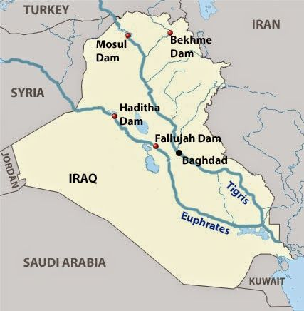 Geography- This is showing key dams along the Tigris and ...