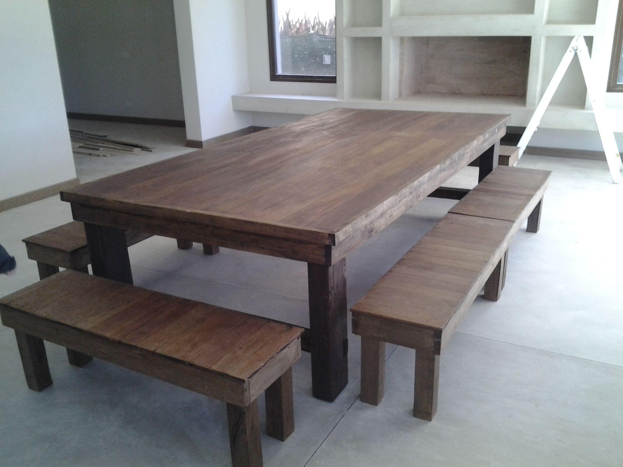 Mesa de madera dura reciclada mesas pinterest wood - Mesas madera reciclada ...