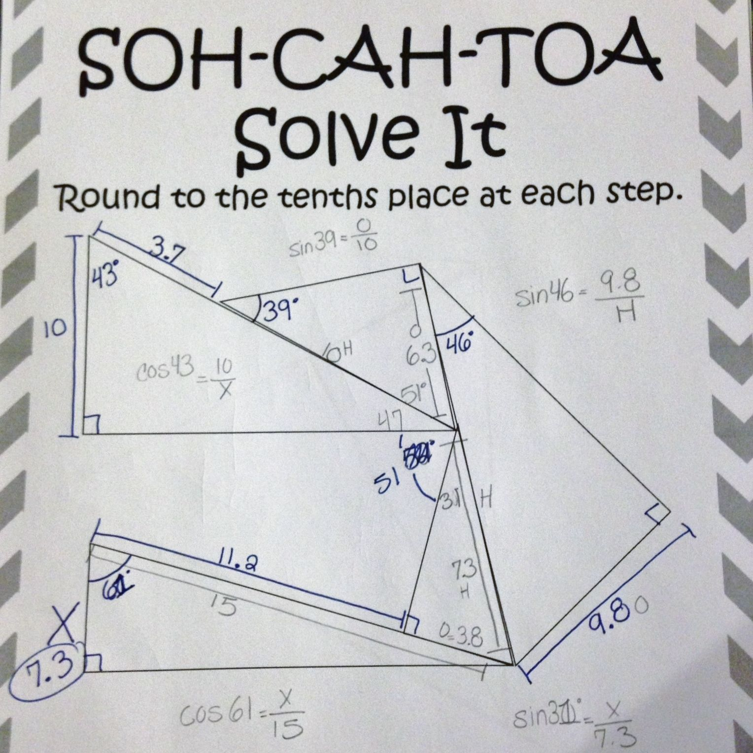 Soh Cah Toa Solve It 3 Sine Cosine Tangent Puzzles Teaching Geometry Geometry Lessons Math Lesson Plans
