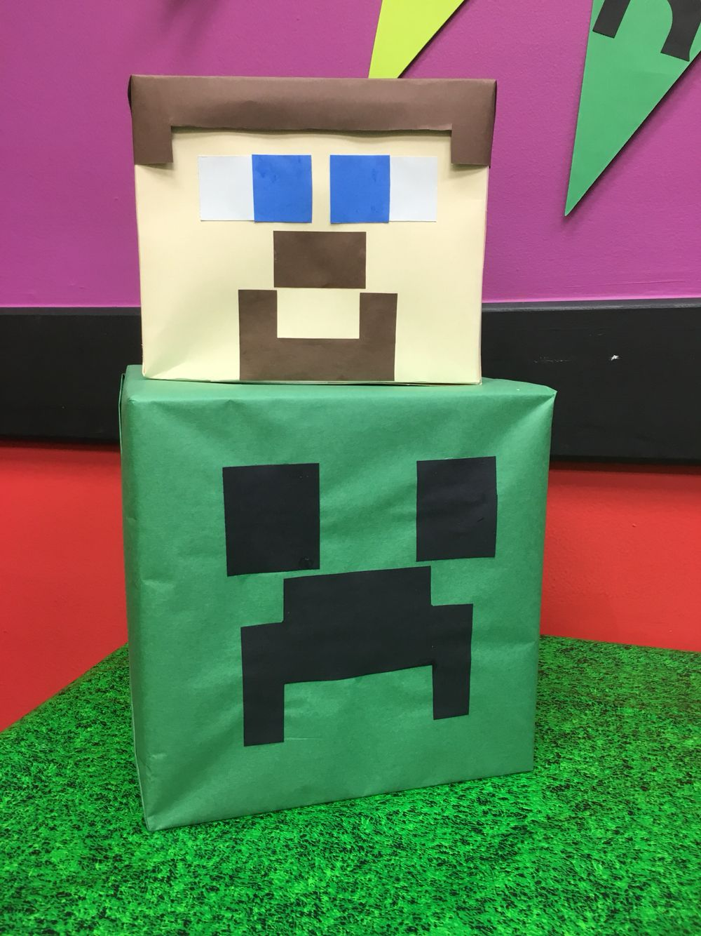 DIY Minecraft Party decorations Steve Creeper Minecraft Party