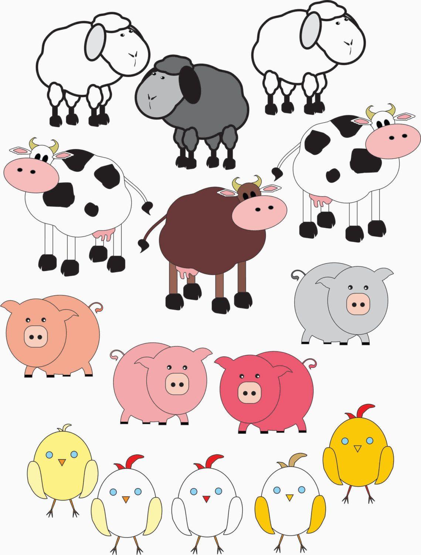 Farm animal clipart 15 farm animals pigs cows by GemmedSnail