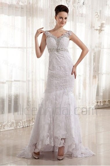 Satin and Lace V-Neckline Court Train Sheath Wedding Dress with Embroidered - Alice Bridal