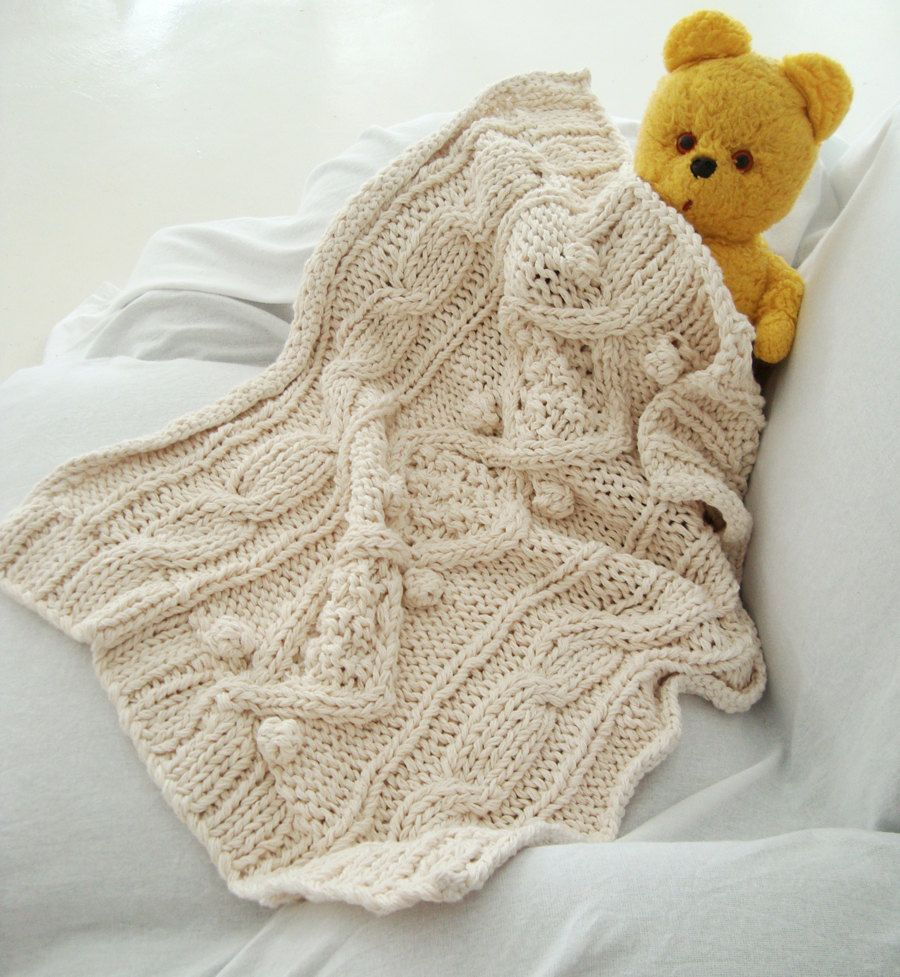 Organic cotton chunky cable knit baby blanket | Knitted baby ...