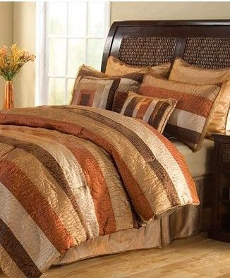 Lustrous metallic hues combine for a luxurious look in the Istanbul comforter set. A bold stripe pattern embellishes the soft, texture-rich comforter and shams, while shimmering gold European shams and patterned decorative pillows complete the luxurious look.