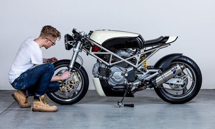 Flat White Ducati Monster 400 Cafe Racer Ducati Pinterest