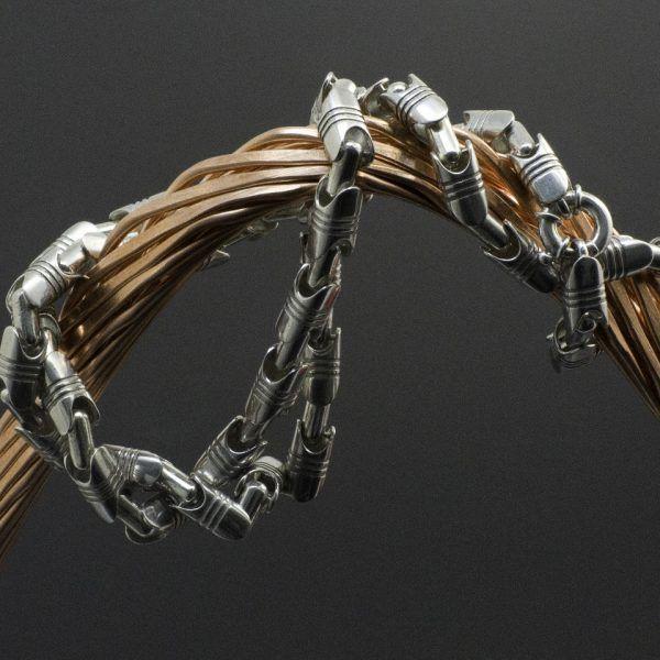 Цепь «Поршневая» в серебре   Кустодия-творческая мастерская. Ювелирные украшения ручной работы./ Цепи и браслеты золотые и серебряные/