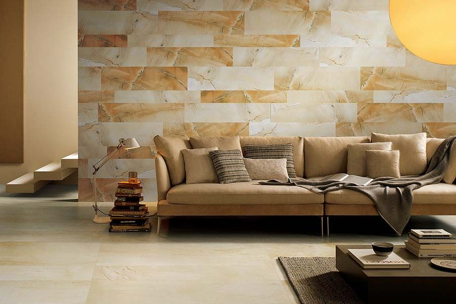 Beautiful Living Room Wall Tiled In Warm Toned Sandstone