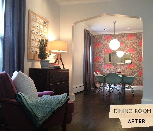a_dining room reno, from drab paneling to fab wall paper