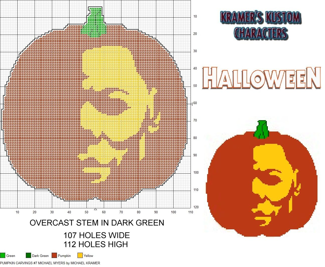 Pumpkin Carvings #7- Michael Myers plastic canvas pattern by ...
