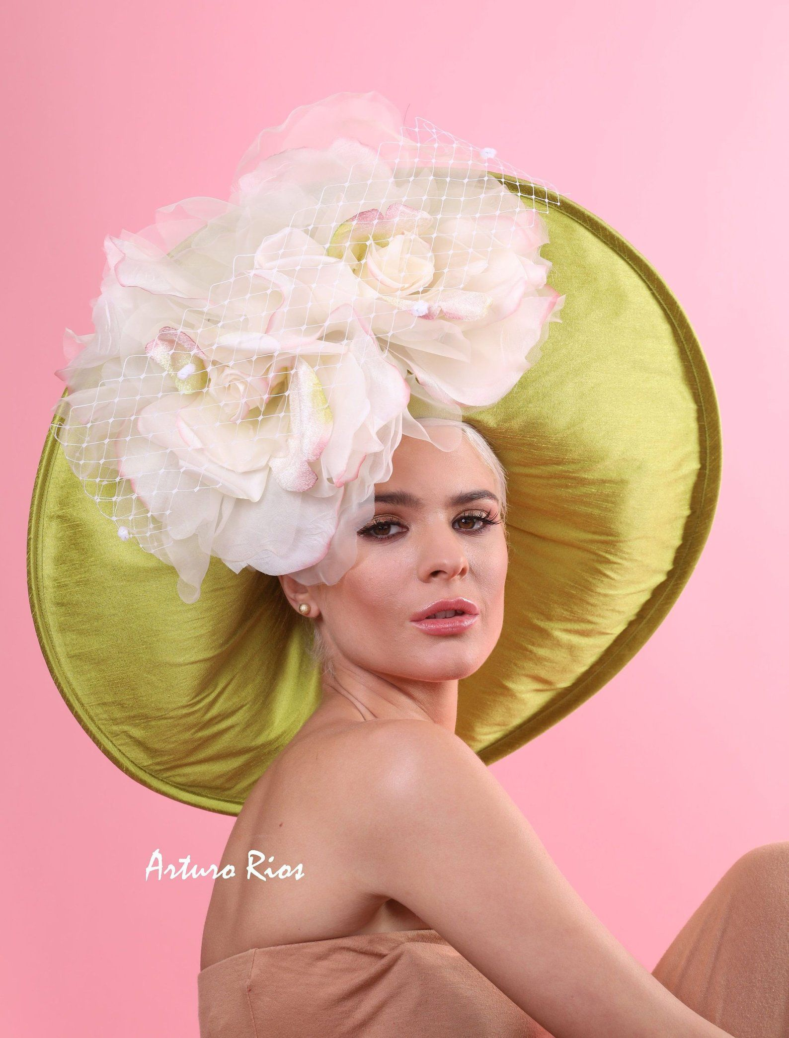 Chartreuse green derby hat, Kentucky derby hat, couture