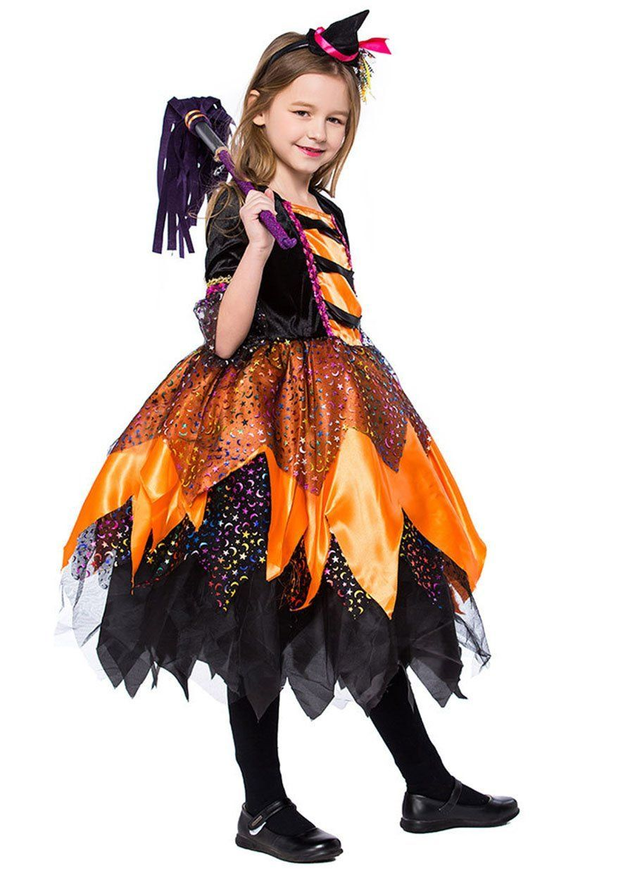 bc7c39ded XSHUN Girls 2018 Halloween Orange Little Witch Dresses Cosplay Cute Witch  Costume S -- Want additional details? Click the picture.