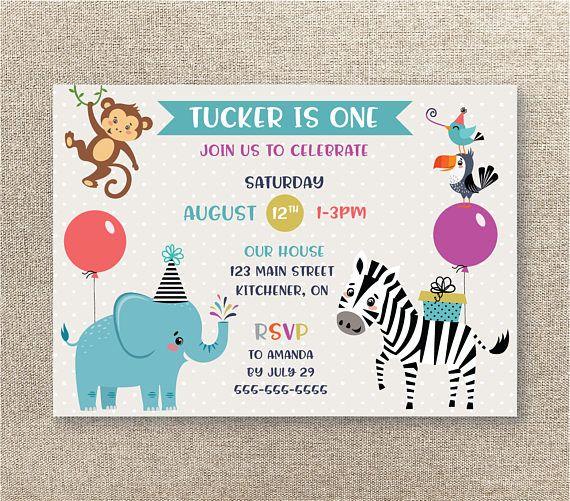 Jungle Birthday Invitation Digital Invitation Zoo Invitation