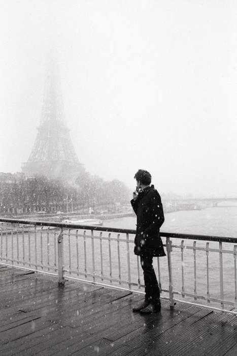 paris, snow, black and white, photography