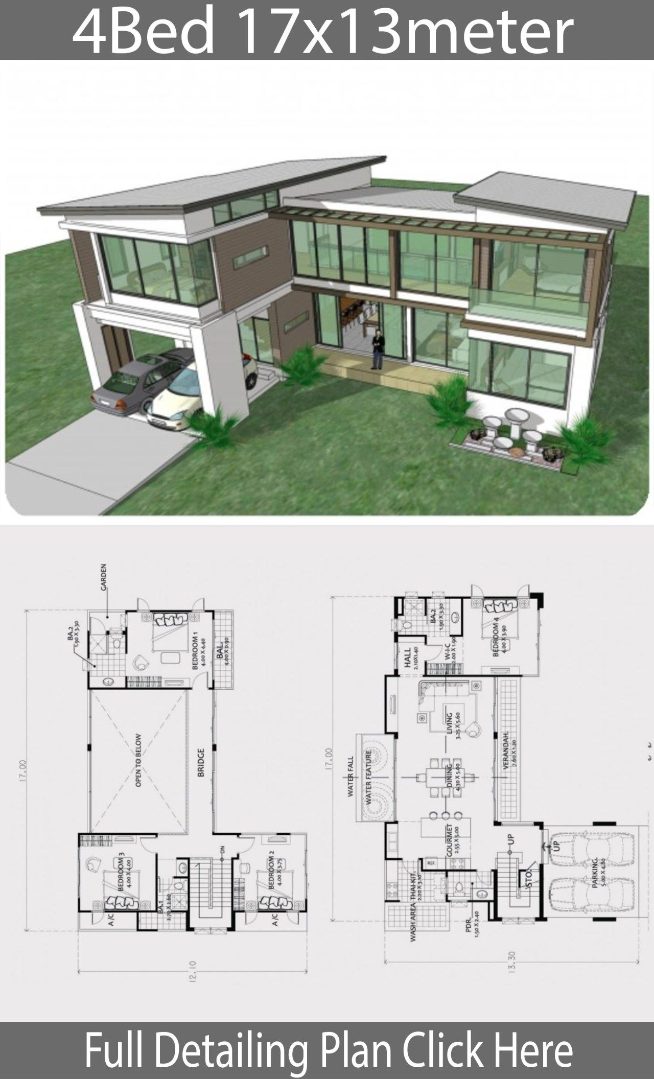 Home Design Plan 17x13m With 4 Bedrooms Home Ideas Big Modern Houses Contemporary House Plans House Layout Plans