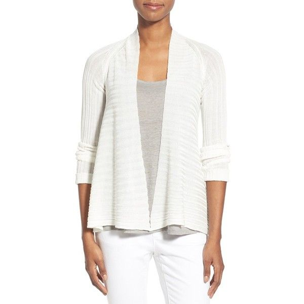 Eileen Fisher Ribbed Tencel Short Cardigan ($248) ❤ liked on ...