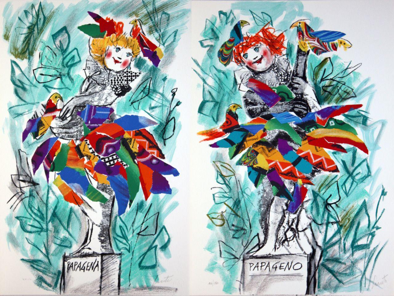 Emanuele Luzzati, Il flauto magico Art, Illustration