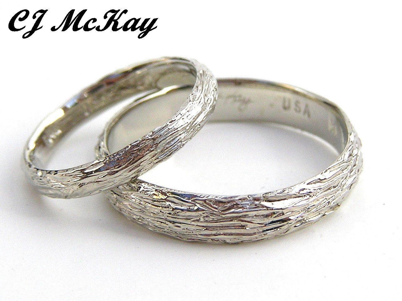14k white gold wedding ring set tree bark design cr85qset   jewelry