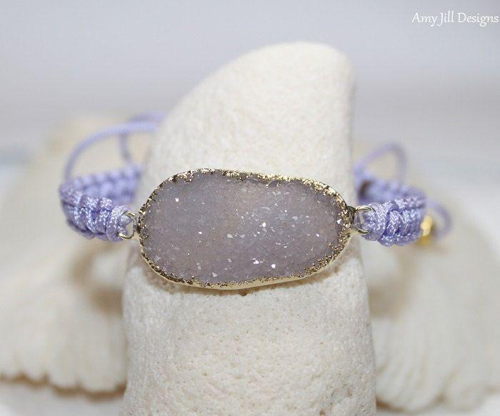 Purple Druzy Macrame Bracelet, Lavender Druzy Bracelet, Jasper Quartz, Druzy Jewelry, Friendship Bracelet, Geode Drusy Gemstone Jewelry by AmyJillDesigns on Etsy