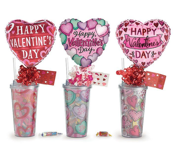 Valentine gift tumbler with candy and balloon negle Gallery