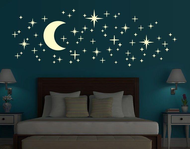 Schlafzimmer Wandtattoo ~ Leucht wandtattoo set romantischer sternenhimmel sternenhimmel
