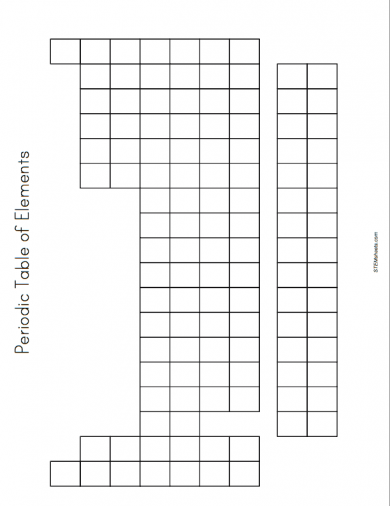 Stem Blank Periodic Table Of Elements Example Worksheet Printable