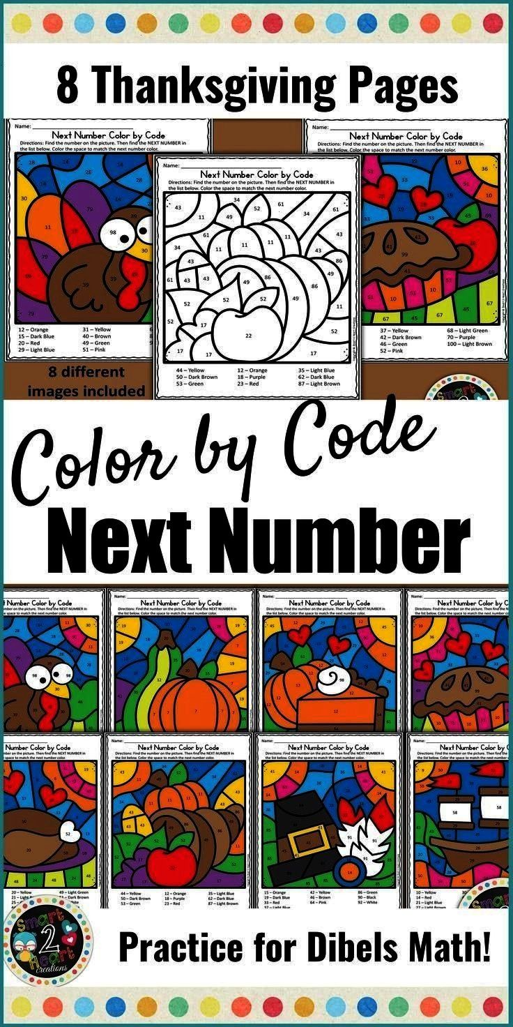 Practice - Thanksgiving Need to build Next Number Fluency? These 8 Thanksgiving themed Color by Cod