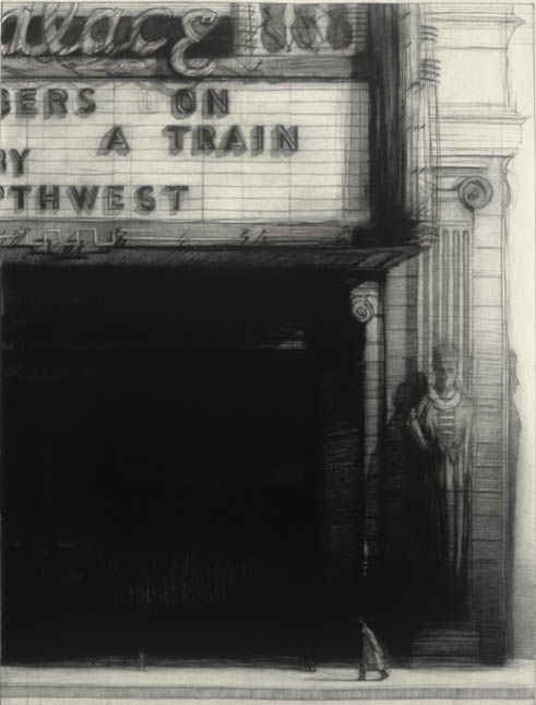 Richard Bunkall, Strangers on a Train, 40'' x 30'', charcoal on paper, 1992