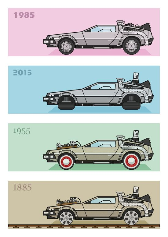 Back to the future delorean x 4 art print movie for Websites similar to society6