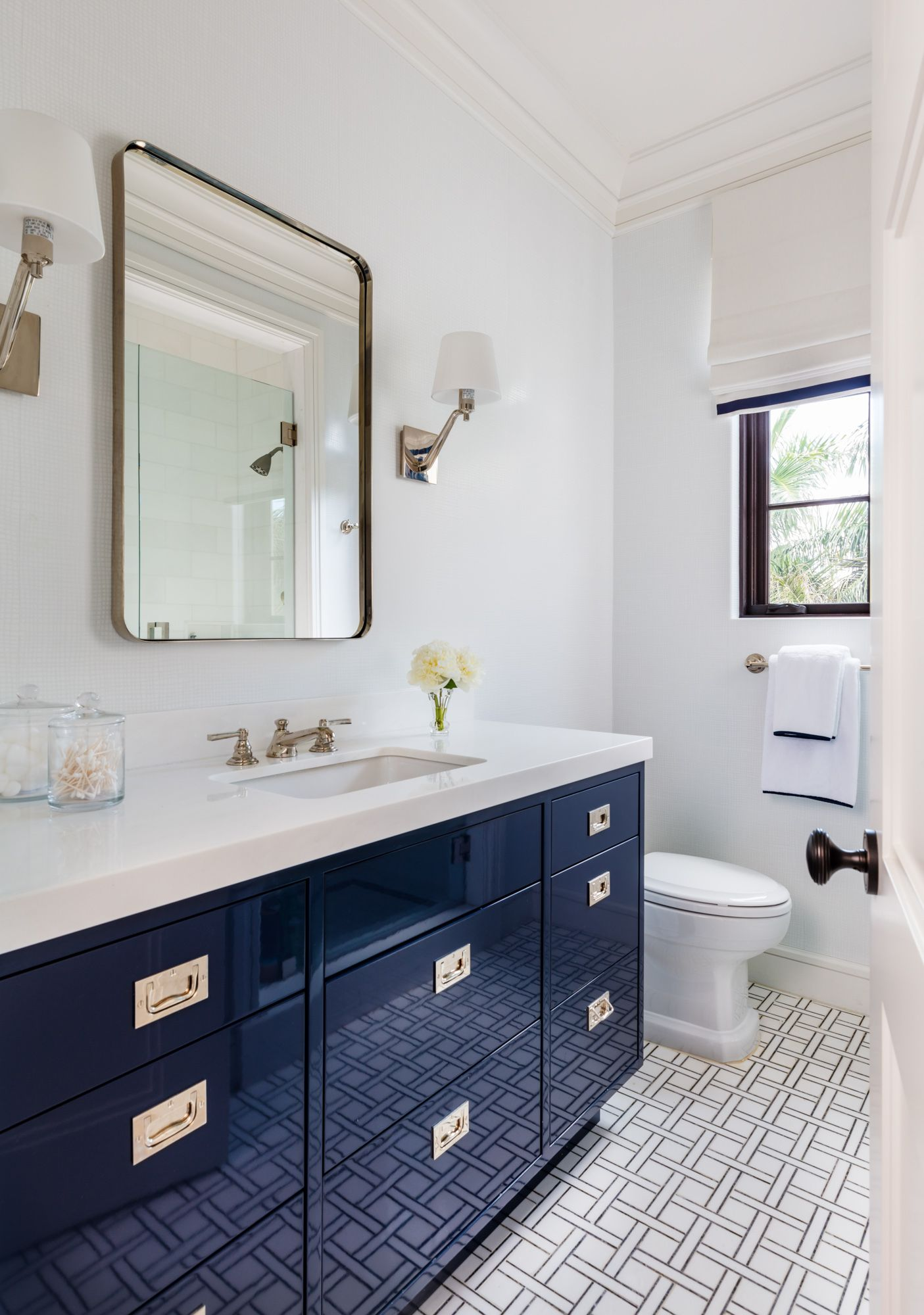 Navy Blue High Gloss Vanity Basketweave Floor Tile Rounded Rectangular Vanity Mirror Mccann Design Group Vanity Blue Tile Floor New Ravenna [ 2000 x 1405 Pixel ]
